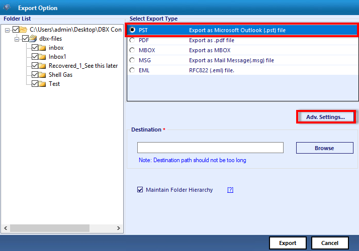 Export DBX to Outlook PST